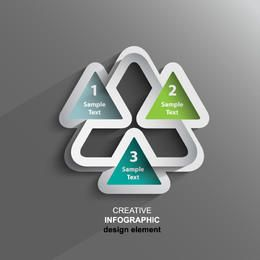 Creative Triangular 3D Sticker Infographic