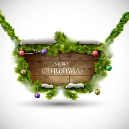 Xmas Banner on Realistic Woody Board Decoration