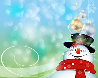 Enfeites pendurados no boneco de neve feliz sobre luzes de Bokeh