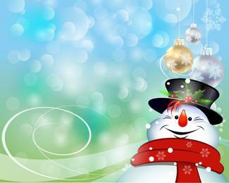 Pendurado Baubles na Snowman feliz sobre Bokeh Luzes
