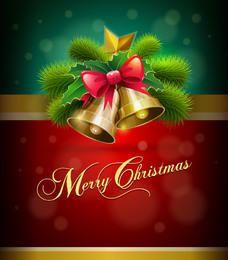 Cartão de Natal com sinos de fita realista brilhante