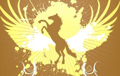Golden Horse background vector