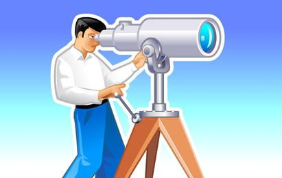 Homem, com, telescópio, ilustração