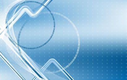 Modelo de negócio com linhas e código binário