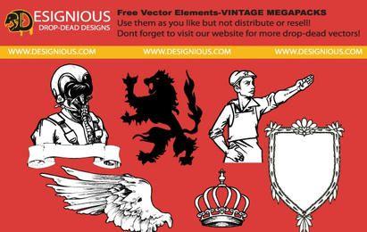 Elementos vectoriales gratis de mega pack vintage