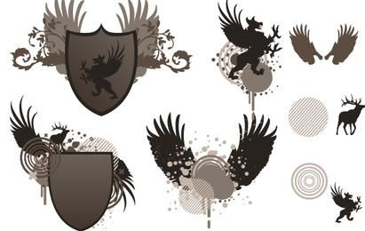 Shield and wing free vector
