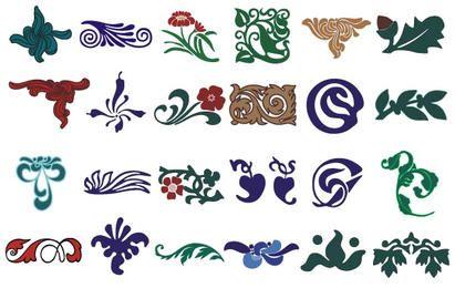 Conjunto de elementos de diseño floral.