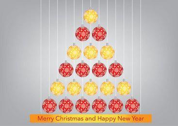 Árvore de bolas de Natal vermelho laranja pendurado