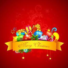 Dekorativer Weihnachtsgeschenksatz auf rotem Hintergrund