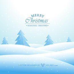 Funky Snowy Landscape Xmas Greeting Card