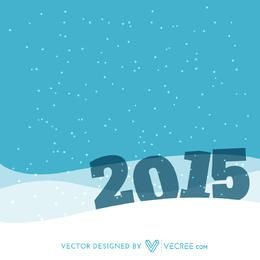 2015 in Snowy Landscape New Year Background