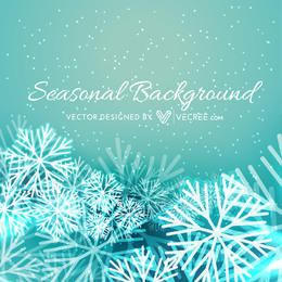 Seasonal Xmas Background with Snowflakes
