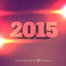 Tipografía 3D año nuevo 2015 sobre fondo colorido