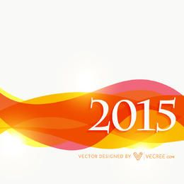 2015 New Year Background with Colorful Waves