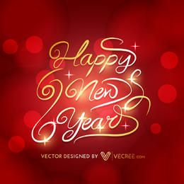Creative New Year Gold Typography Red Background