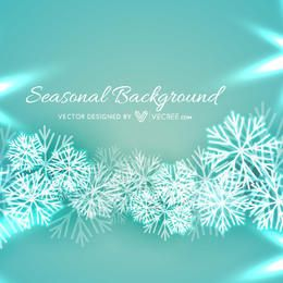 Snowflakes Turquoise Background with Xmas Greeting