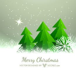 Xmas Background with Trees on Snowflakes