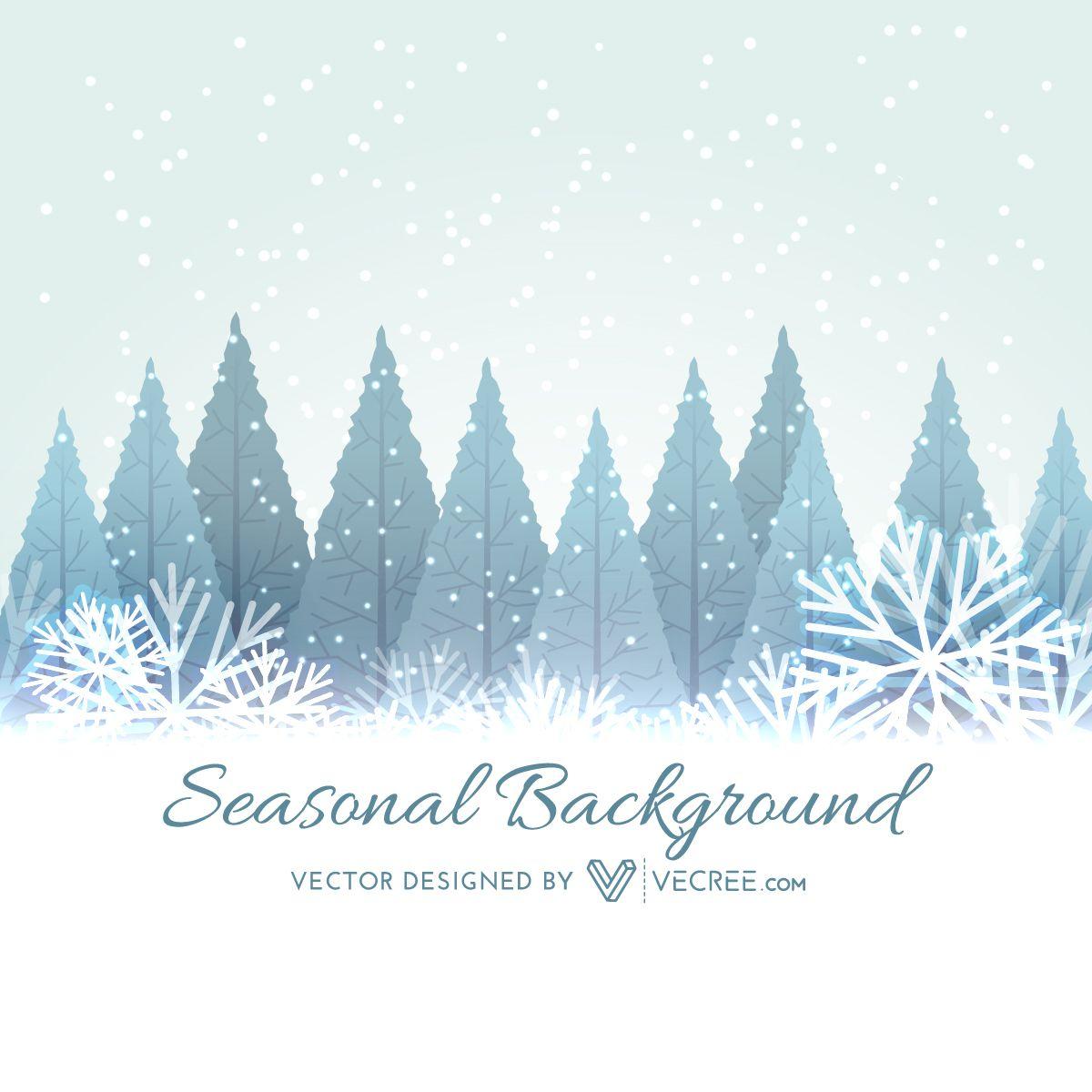 xmas trees on snowy winter landscape vector download. Black Bedroom Furniture Sets. Home Design Ideas