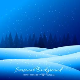 Blue Snowy Seasonal Background with Pine Trees