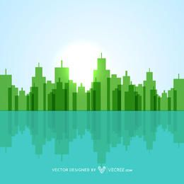 Geometric Abstract Green Lakeside City