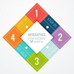 Flat Diamond Layout Colorful Squares Infographic