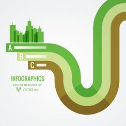 Abstract Green City on Stripy Lines Infographic