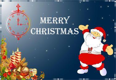 Tarjeta de Navidad feliz de Santa Claus con reloj