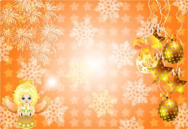 Bright Xmas Background with Stars & Ornaments