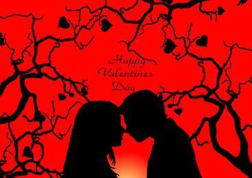 Pares românticos no cartão dos namorados da árvore