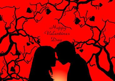 Romantic Couple on Heart Tree Valentine Card