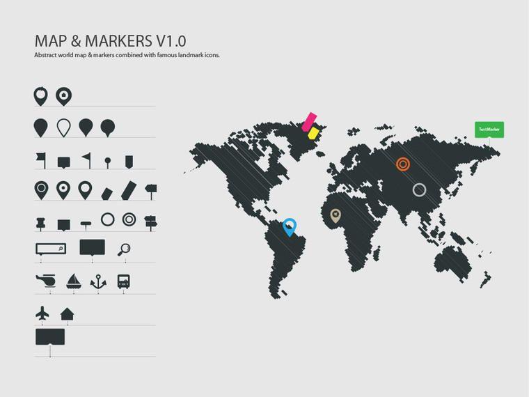 Mapa Con Un Puntero Ubicación: Mapa Del Mundo Con Planos Marcadores