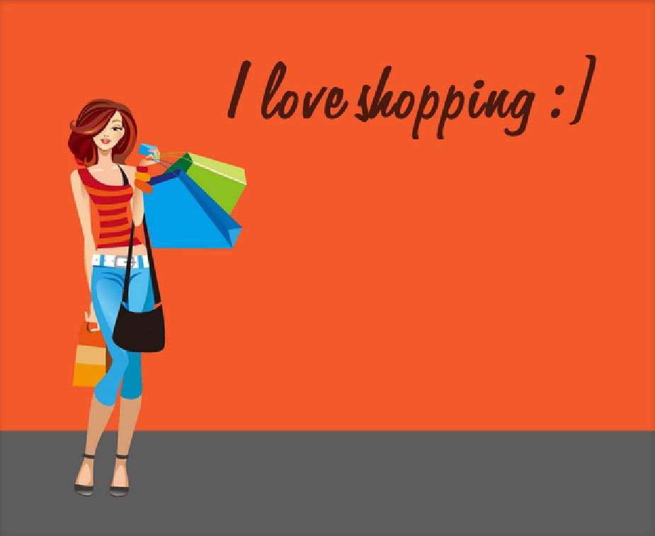 Woman Shopping Clipart Young Hot Shopping Gir...