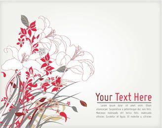 Esquina floral abstracta retra plantilla de tarjeta