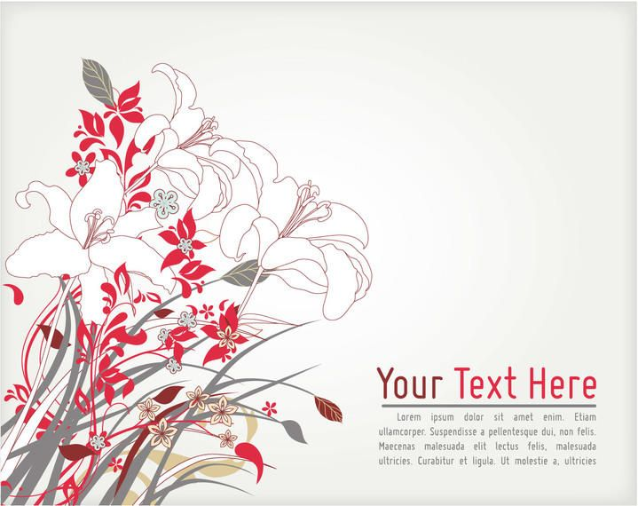 Retro Abstract Floral Corner Card Template