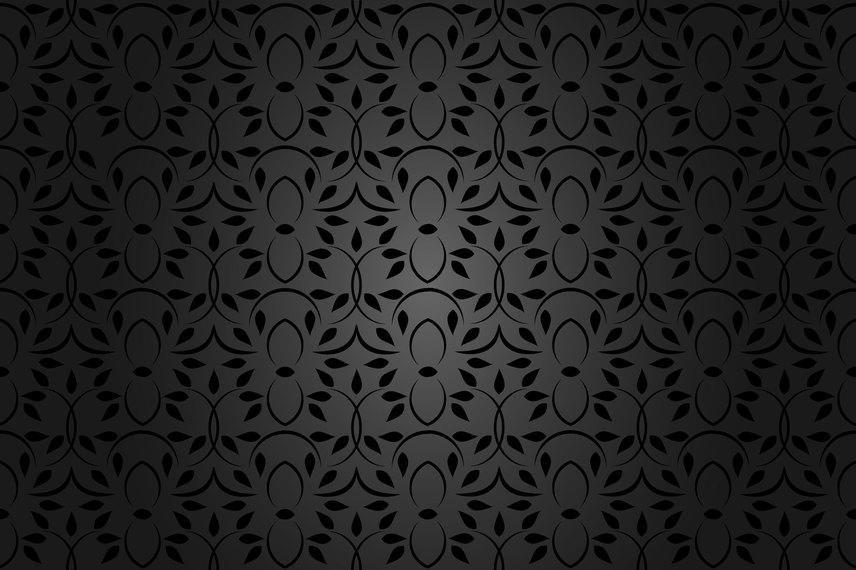 Patrón floral negro transparente