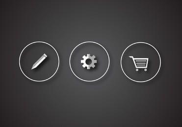 Glossy Silver 3 ícones da Web