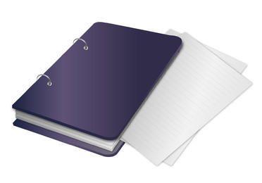 Fichário de caderno com papéis fora