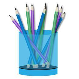 Bunte Bleistifte im Topf