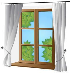Closed Window with Curtain