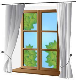 Ventana cerrada con cortina