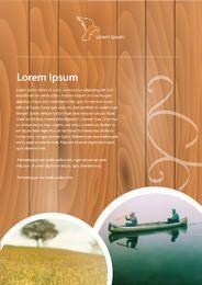 Plantilla de folleto abstracto con textura de madera