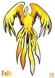 Gelber abstrakter Phoenix-Vogel