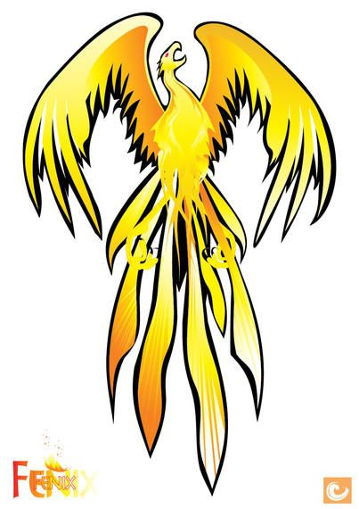 Pájaro de Phoenix abstracto amarillo