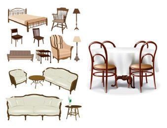 Paquete de muebles clásicos y decorativos