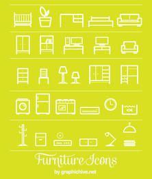 Flat Line Art Furniture Icons
