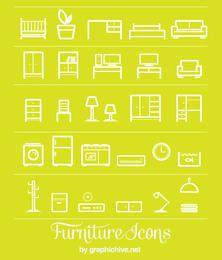 Iconos de muebles de arte de línea plana