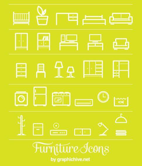Flat Line Art Furniture Icons