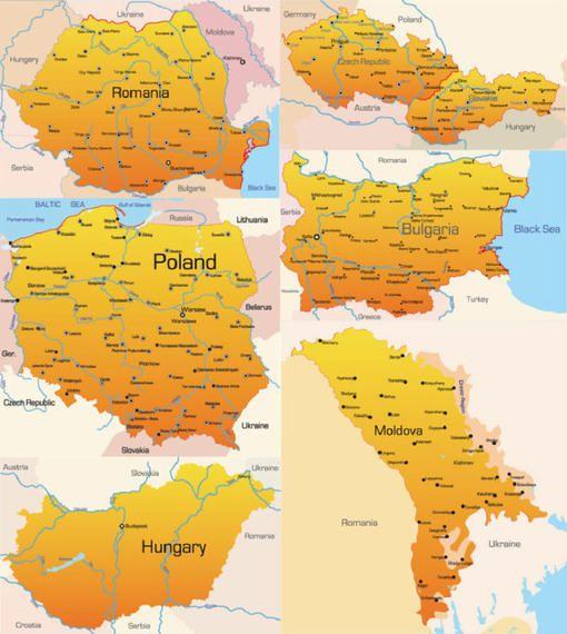 Pacote de Mapas de Países Europeus