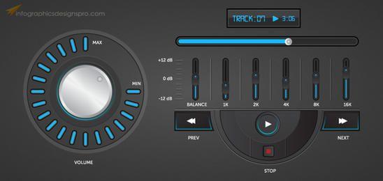 Interface de jogador de música elegante