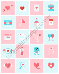 Flat Valentine Icon Pack